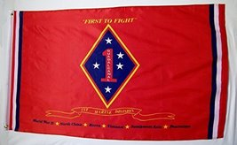 "United States Marine 1st Division Flag 3' X5' ""First To Fight"" Indoor Ou... - $12.95"
