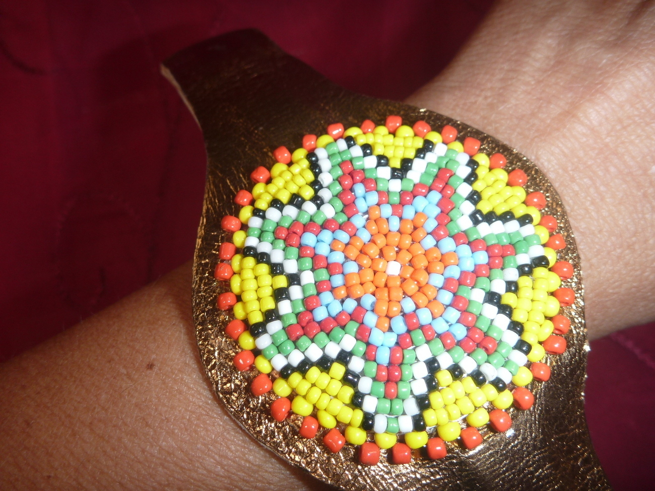 Primary image for Leather Bracelet Cuff with  Sead Beads Native American Tribal Western Bronze