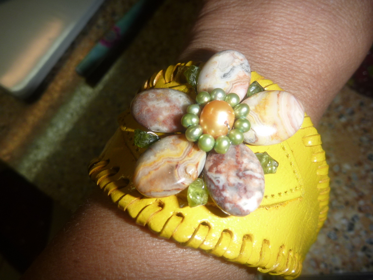 Primary image for Leather Yellow Bracelet with Jasper Stones Women's Western or Daily  Gemstones