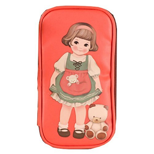 Primary image for Girl and Bear Theme Bags Cosmetic Pen Pencil Bag Case Red (11.5X21X2.5cm)