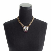 J. Crew Crystal Foilage Pendant Necklace New SOLD OUT Gold Brass Crystal... - $28.93