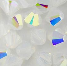 6mm Crystal White Opal AB Swarovski Xilion Beads 5328 ( 72 ) milky, rainbow - $12.50
