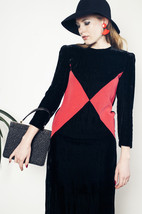 Triangle mod velvet dress 80s geometric black dress - $54.60
