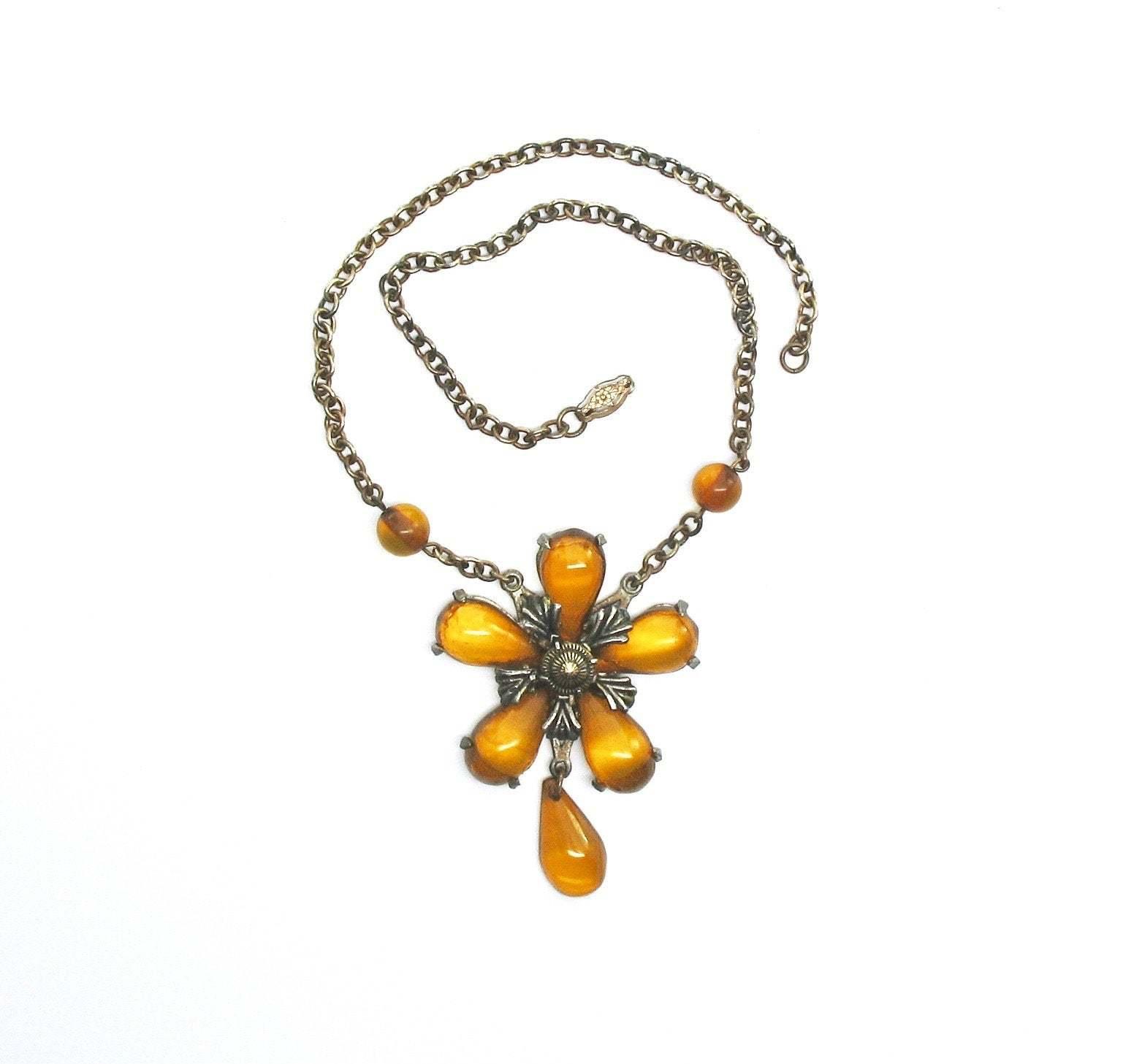 Bakelite Bib Necklace, Applejuice, Prystal, Tested, Teardrop, Dangle, 1930's, Br