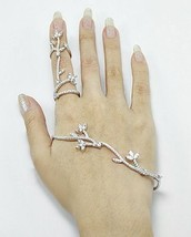 18 K White Vermeil Pave 5 A Cz Palm Cuff & Knuckle Ring Ss/925 Adjustable - $189.00
