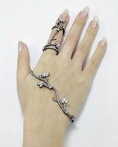 18 K Black Vermeil Pave 5 A Cz Palm Cuff & Knuckle Ring Ss/925 Adjustable - $189.00