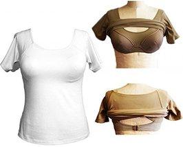 Alessandra B Short Sleeve Crew Neck Tee with Underwire Bra (36C, White) - $34.99