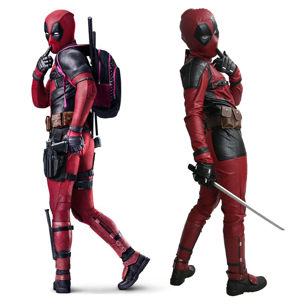 XCOSER Deadpool Movie Costume PU Outfit With Belt Cosplay