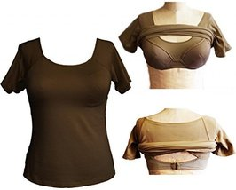 Alessandra B Short Sleeve Crew Neck Tee with Underwire Bra (34DD, Mocha) - $34.99
