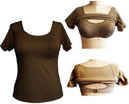 Alessandra B Short Sleeve Crew Neck Tee with Underwire Bra (34DD, Mocha) - $34.99