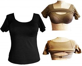 Alessandra B Short Sleeve Crew Neck Tee with Underwire Bra (38DD, Black) - $34.99
