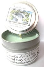 Eucalyptus -4oz All Natural Tin Soy Candle, Take It Any Where Approximat... - €5,08 EUR