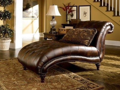 Vintage chaise lounge brown leather recliner wood indoor for Antique wooden chaise lounge