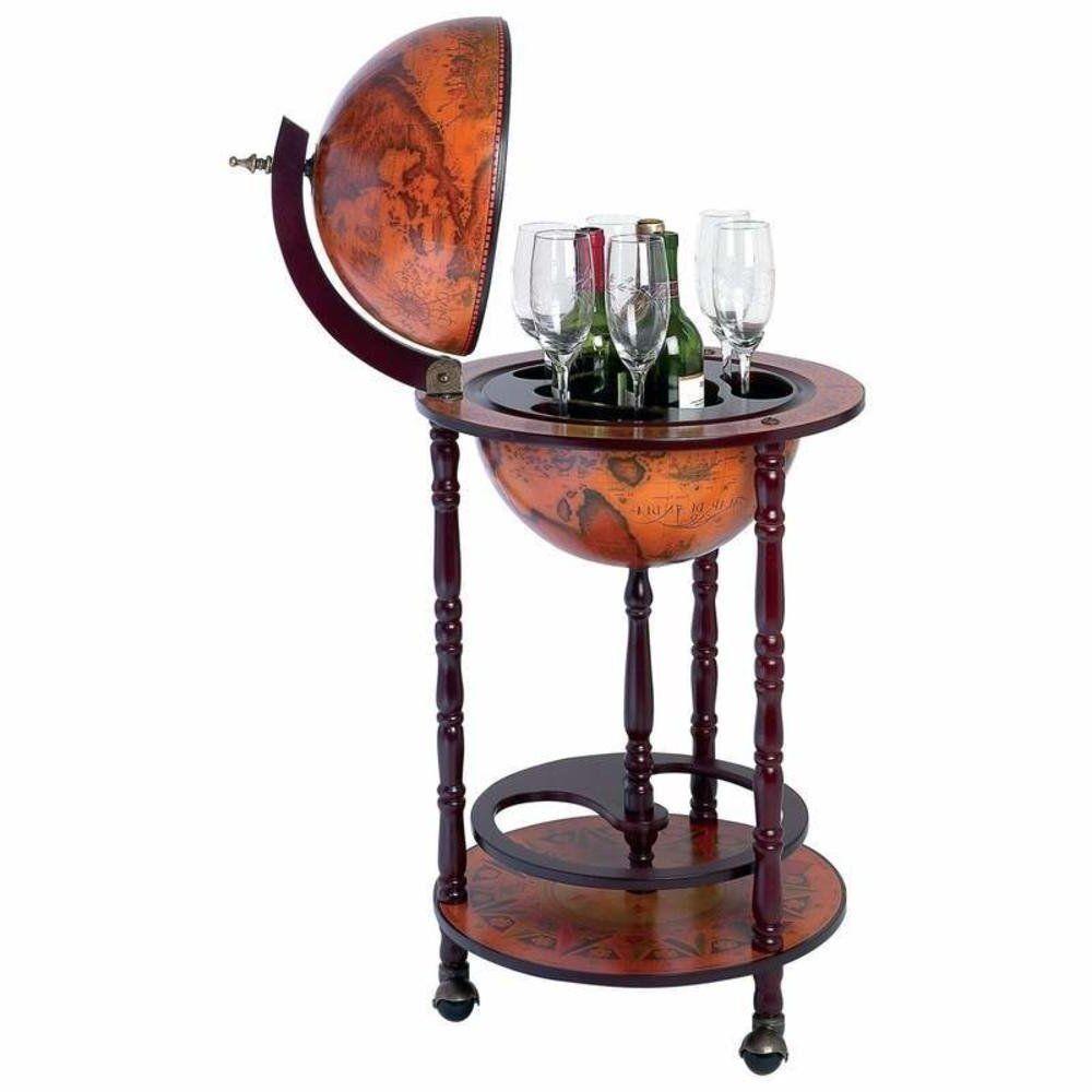 Globe With Stand Vintage World Map Wine Bar Bottle Holder Living Room Furniture