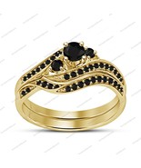 Round Cut Black Diamond Attractive Engagement Bridal Ring Set & Free Shi... - $79.11