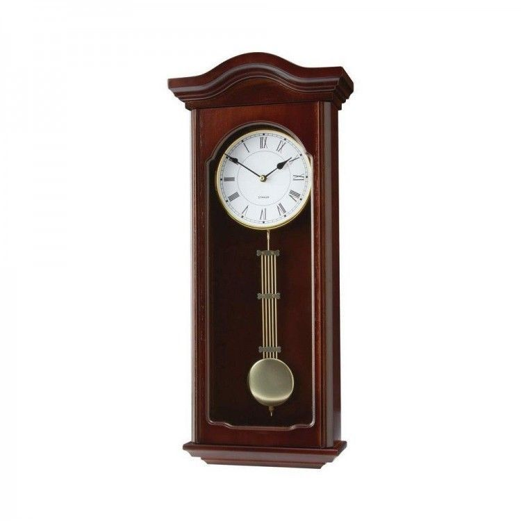 wooden pendulum wall clock vintage antique large retro vtg
