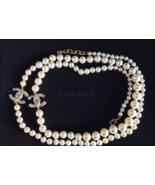 AUTHENTIC Chanel RUNWAY Classic 2 CC Reversible Crystal Pearl Necklace Gold NEW  - $1,299.99