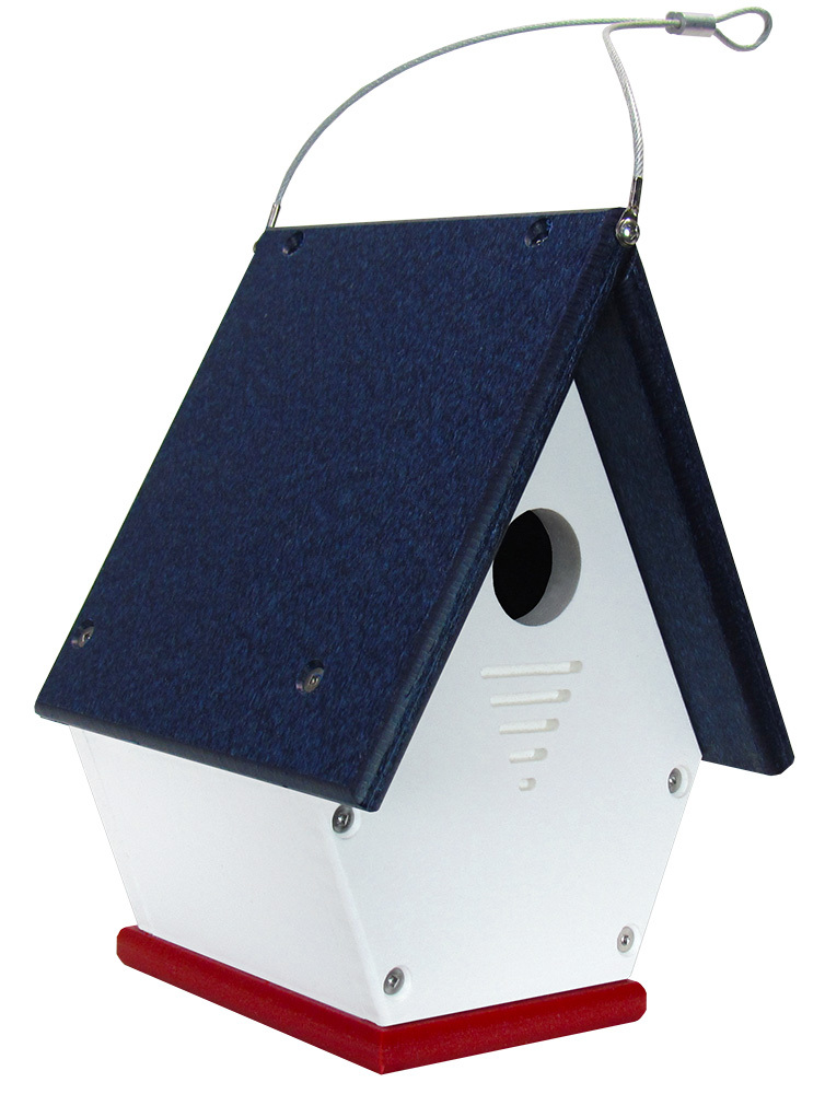 JCs Wildlife American Made Red, White and Blue Wren Chateau Birdhouses, All Poly
