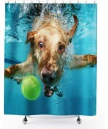 Nice Humor Puppy Dog Tennis Ball Pool Cute Funny Fabric Shower Curtain +... - $39.00