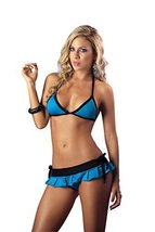 Mapal by Espiral Women's Sexy Bra Top Pleated Mini Skirt and Rio Thong, Turq... - $20.88