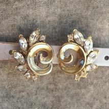 Vintage Crown Trifaril Rhinestone Bridal Clip Earrings Bridesmaid Rhinestone Wed - $25.00