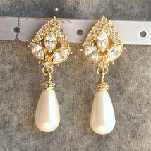Vintage Cream Rhinestone Pearl Wedding Earrings Pearl Bridal Chandelier ... - $33.00