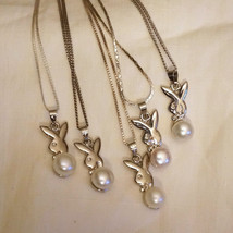 925 Sterling Cultured Pearl Bunny Bridal Wedding Necklace Bridesmaids - $65.00