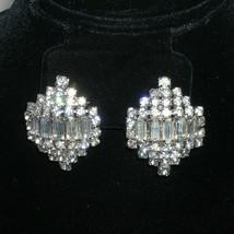 Vintage Chunky Rhinestone Bridal Clip Earrings Bridesmaid Rhinestone Wed... - $44.00