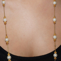 Vintage Glass Pearl Wire Bead Bridal Wedding Necklace Coiled Wire Beads - $35.00