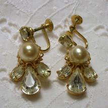 Vintage  Bridal Glass Pearl Rhinestone Drop Earrings Brides Rhinestone P... - $35.00