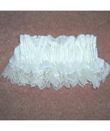 Something Old Ruffled Eyelet Lace Silk Wedding Garter Vintage Lace Shabb... - $39.95