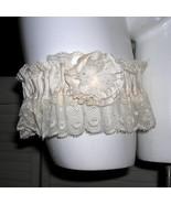Something Old Ruffled Lace Dupioni Silk Wedding Garter Vintage Lace Shab... - $39.95