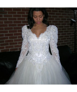 Vintage GINZA Collection Beaded Sequin Satin Lace Wedding Dress Bridal B... - $450.00
