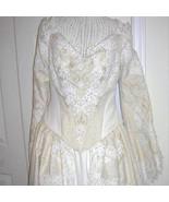 Vintage Couture Embroidered Renaissance Medieval Corset Wedding Dress Br... - $1,250.00