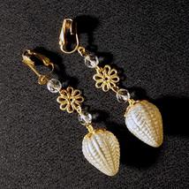 OOAK Vintage Blown Glass Bulb Crystal Bridal Earrings Ivory Pearl Chande... - $56.00