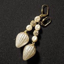 OOAK Rhinestone Vintage Blown Glass Bulb Bridal Earrings Ivory Pearl Cha... - $75.00