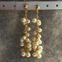 Vintage Bridal Cream Glass Cluster Pearl Bridal Wedding Earrings Pearl C... - $28.00