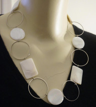 Limited Edition Mother of Pearl Geometric Chain Runway Necklace - $73.60