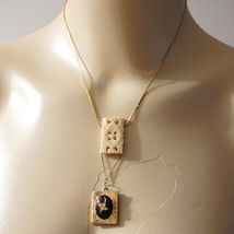 OOAK Vintage Carved Bone Flower Locket Pendant Sautoir Necklace - $108.00