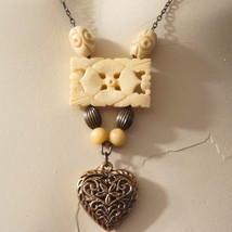 OOAK Vintage Carved Bone Flower Heart Pendant  Sautoir Necklace - $135.00