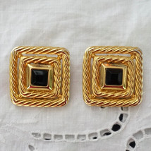 Vintage Siam Ruby Rhinestone Clip On Runway Earrings by VO - $44.00