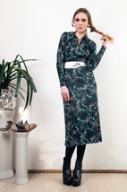 Green hippie dress 70s long sleeved boho midi dress - $57.20