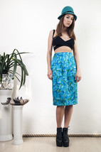 Turquoise silk skirt 90s floral vintage classy midi skirt - $59.80