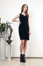 Black velvet dress 90s vintage slim fit classy mini dress - $59.80