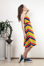 Multicolour striped dress 70s chevron patterned beachwear - $50.70