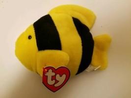 Ty Beanie Baby Bubbles Fish 3rd 1st Gen Yellow Black 1995 Authentic KOREAN  - $163.35