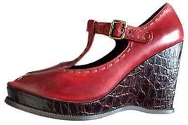 16800193a0c Nwob Linea Paolo Red Rust Mary Janes Open Toe Buckle Shoes Women Size 12 M -
