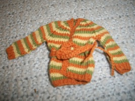 Hand Knitted Fashion Doll Sweater with Belt - $8.00