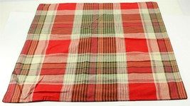 Pottery Barn Large and Green Red Plaid Pillow Cover 24 x 24, Christmas D... - $34.99