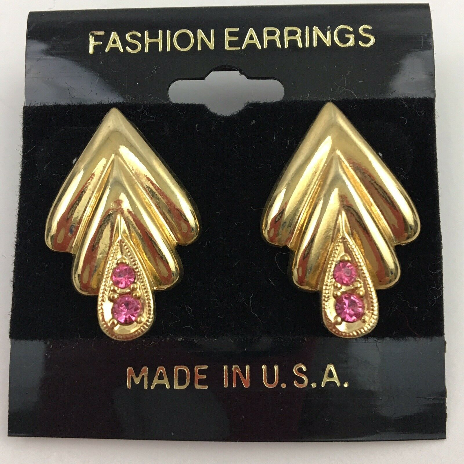 Primary image for Vintage Pink Crystal Rhinestone Gold Tone Earrings Elegant NOS 80s 90s
